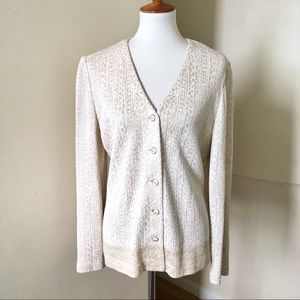 St John Collection Metallic Knit Jacket Cardigan